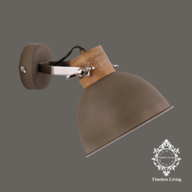 Wandlamp Industrieel Damian - Taupe / Cement