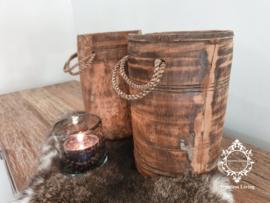 Oud houten lepelpot met touw no. 13