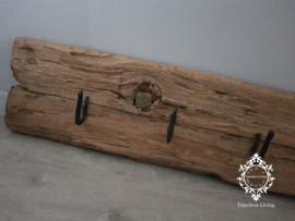 Kapstok Railway - Stoer oud houten wagondelen no. 24