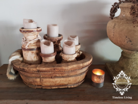 Olijfbak ovaal stoer origineel oud hout - no. 7