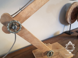 Tafellamp Industrieel Angelique - Buigbare arm - Hout & Zwart