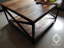 Salontafel Noah - Sober stoer industrieel 80 x 80 cm.