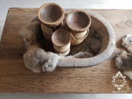 Olijfbak ovaal Set + kandelaren stoer origineel oud hout - no. 6