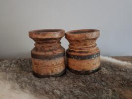 Waterkruik oud houten kandelaar - SET (2 st.)