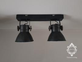 Plafondlamp Industrieel Angelique 2 spots - Vintage Metaal Black