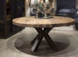 Eettafel Massimo - Rond Sober industrieel robuust oud hout