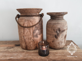 Oud houten Nepalese kruiken SET no. 20