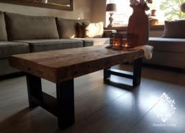 Salontafel Angelo - Sober industrieel oud hout 120 cm.