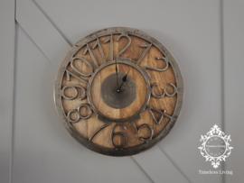 Wandklok Luna - Rond hout met ruw nikkel - ∅ 41 - Maat XL