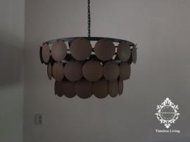 Schijvenlamp sober hout 'roest look' Ø 65 cm. (3 banen)