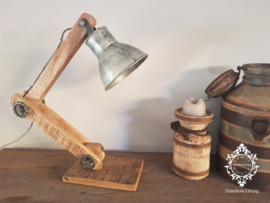 Tafellamp Industrieel Angelique - Buigbare arm - Vintage Metaal naturel