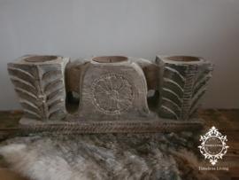 Oud houten poer ornament no. 2