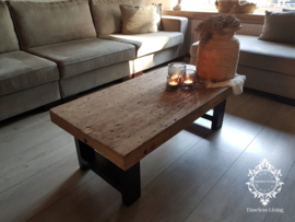 Salontafel Massimo - Sober industrieel oud hout 120 cm.