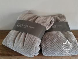 Leeff Plaid - Licht grijs - Dik en super zacht - 200 x 150