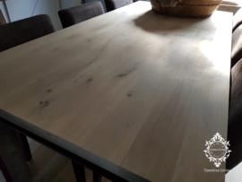 Eettafel industrieel H-Balk onderstel mat zwart - Eiken blad grey wash