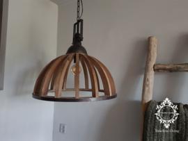 Industriële hanglamp Demi - Hout en metaal Ø 60 cm.