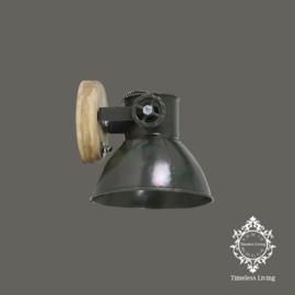 Wandlamp Industrieel Angelique - Army Groen met hout - Ø 18 cm.