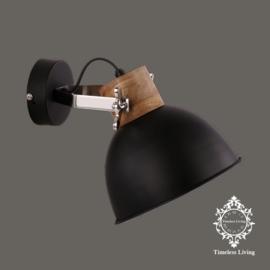 Wandlamp Industrieel Damian - Zwart met hout  - Ø 20 cm.