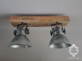 Plafondlamp Industrieel Angelique 2 spots - Vintage Metaal Naturel
