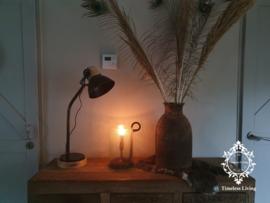 Bureaulamp / Tafellamp Margy Industrieel - Zwart & Hout