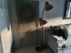 Vloerlamp Industrieel Sienna - Hout & Mat Zwart
