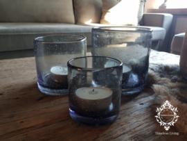 Windlicht grijs glas bubbeltjes / luchtbelletjes