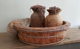 Stoere origineel oud houten bak XL - ∅  65 cm. no. 2