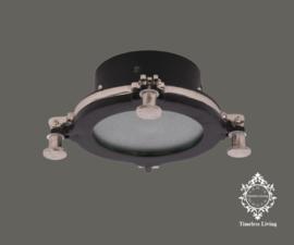 Plafondlamp Giovanni - Industrieel Mat zwart & Ruw nikkel - Maat S Ø 22 cm.