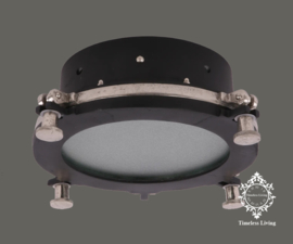 Plafondlamp Giovanni - Industrieel Mat zwart & Ruw nikkel - Maat M  Ø 32 cm.