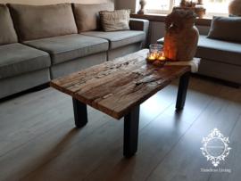 Salontafel Jeremias - Sober industrieel oud hout wagondelen 120 cm.