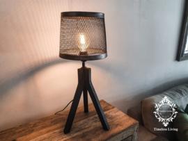Tafellamp Industrieel - Zwart hout
