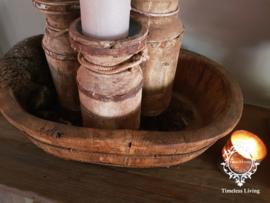 Olijfbak ovaal stoer origineel oud hout - no. 3