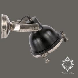 Wandlamp Industrieel Mias - Zwart / Nikkel - Ø 20 cm.