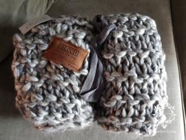 MrsBloom Plaid - gebreid grijs gemeleerd 170 x 130