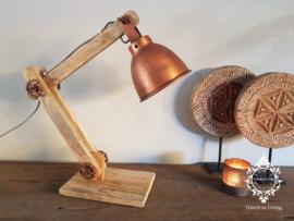 Tafellamp Industrieel Angelique - Buigbare arm - Hout & Koper