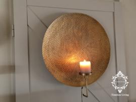 LifeSTYLE Wandkandelaar - Gehamerd Antiek Goud - Maat L - ∅ 52 cm.