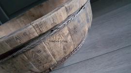 Stoere origineel oud houten olijfbak XL - ∅  60 cm. no.3