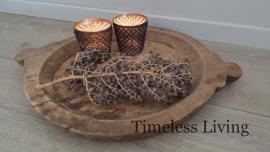 Oud houten schaal met oren - India maat L