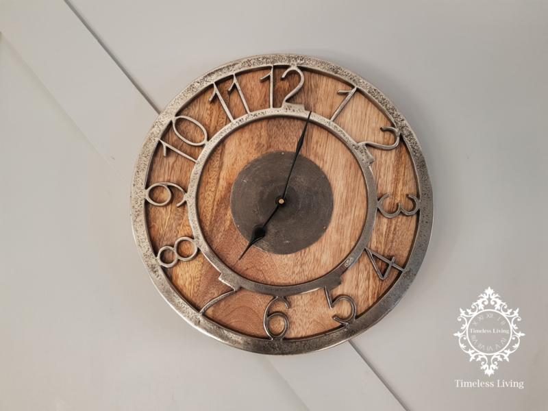 Wandklok Luna - Rond hout met ruw nikkel - ∅ 33 - Maat M
