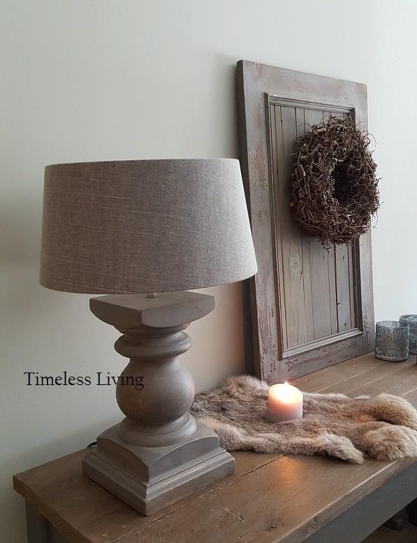 Stoere baluster lamp incl. lampenkap - Grijs
