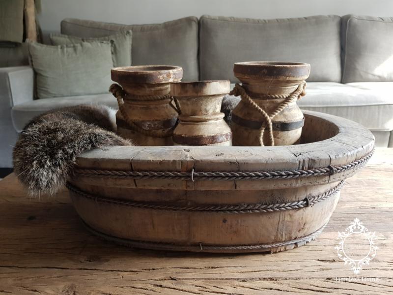 Olijfbak ovaal stoer origineel oud hout - no. 5