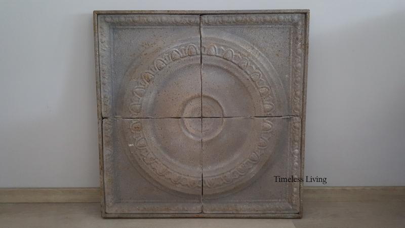 IJzeren paneel / wandornament - antiek beton grijs