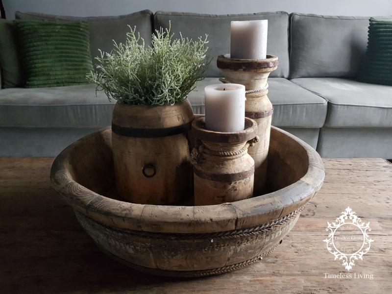 Olijfbak stoer origineel oud hout ∅ 50 - no. 9