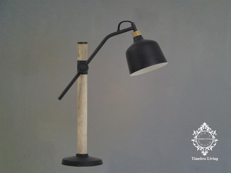 Bureaulamp / Tafellamp Julia Industrieel - Hout & Mat Zwart