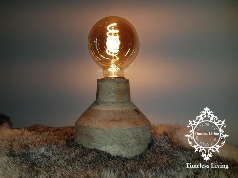 Tafellamp vergrijsd naturel hout