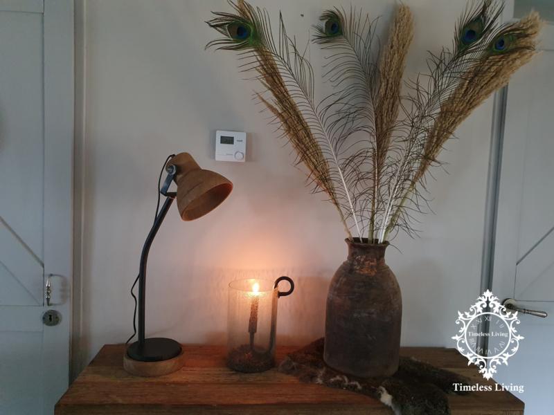 Bureaulamp / Tafellamp Siënna Industrieel - Hout & Mat Zwart