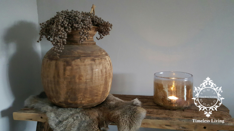 Nepalese houten bolbuik kruik maat XL no. 7