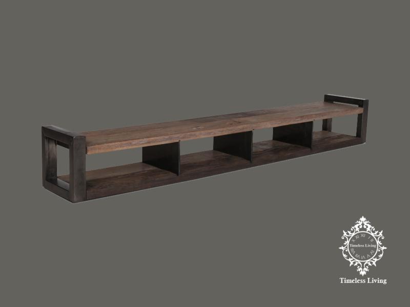 Wandmeubel Mauro - Industrieel en Sober stoer hout 210 cm.