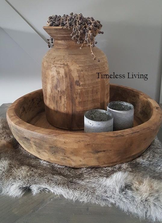 Stoere origineel teak houten bak  / schaal ∅ 50 cm.