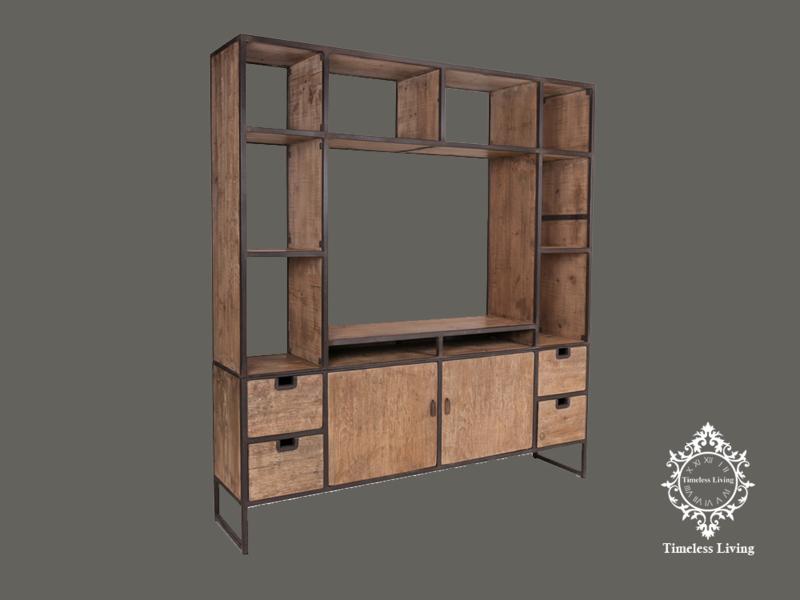 Wandmeubel Elroy - Massief hout industrieel ijzerwerk